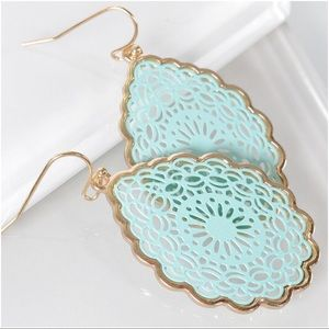 Jewelry - Mint Mandala Teardrop Earrings